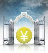 Open gate with yen or yuan coin and sky illustration Stock Illustration