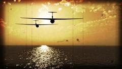 Gliders over the sea old film simulation HD video Stock Footage