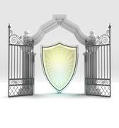 Divine shield protection in heavenly gate illustration Stock Illustration