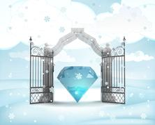 xmas gate entrance with heavenly diamond in winter snowfall illustration - stock illustration