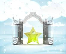 Xmas gate entrance with golden star in winter snowfall illustration Stock Illustration
