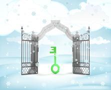 Xmas gate entrance with green key in winter snowfall illustration Stock Illustration