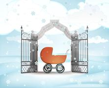 Xmas gate entrance with newborn in carriage in winter snowfall illustration Stock Illustration