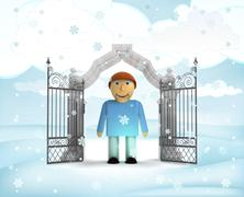 xmas gate entrance with heavenly man in winter snowfall illustration - stock illustration
