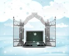 Xmas gate entrance with heavenly laptop in winter snowfall illustration Stock Illustration