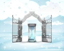 xmas gate entrance with sand glass countdown in winter snowfall illustration - stock illustration