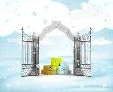 Xmas gate entrance with champion podium in winter snowfall illustration Stock Illustration
