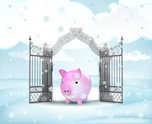Xmas gate entrance with heavenly pig in winter snowfall illustration Stock Illustration