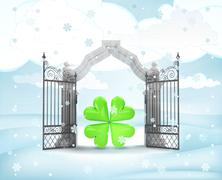 Xmas gate entrance with heavenly happiness  in winter snowfall illustration Stock Illustration