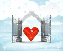 Xmas gate entrance with heavenly love in winter snowfall illustration Stock Illustration