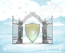 xmas gate entrance with heavenly shield in winter snowfall illustration - stock illustration