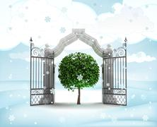 xmas gate entrance with green tree miracle in winter snowfall illustration - stock illustration