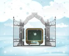 Xmas gate entrance with television in winter snowfall illustration Stock Illustration