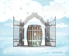 xmas gate entrance with beverage keg in winter snowfall illustration - stock illustration