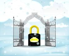 Xmas gate entrance with security padlock in winter snowfall illustration Stock Illustration