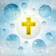 Stock Illustration of golden holy cross in bubble at winter snowfall illustration