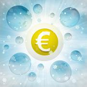 Stock Illustration of euro currency coin in bubble at winter snowfall illustration