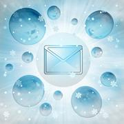 Cold email message in bubble at winter snowfall illustration Piirros