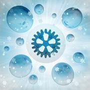 Cogwheel part in bubble at winter snowfall illustration Stock Illustration