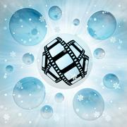 New movie filmstrip in bubble at winter snowfall illustration Stock Illustration