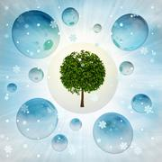 green tree miracle in bubble at winter snowfall illustration - stock illustration