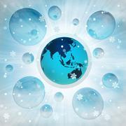 Stock Illustration of asia earth globe in bubble at winter snowfall illustration