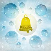 Magic golden bell in bubble at winter snowfall illustration Piirros