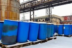 Chemical waste dump with a lot of barrels Stock Photos