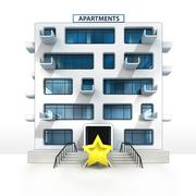 Top rating star in front of isolated apartment building illustration Stock Illustration