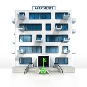 Green key in front of isolated apartment building illustration Stock Illustration