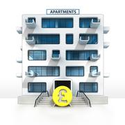 Pound currency in front of isolated apartment building illustration Stock Illustration