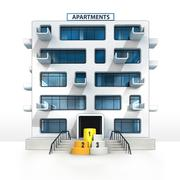Champion stand in front of isolated apartment building illustration Stock Illustration