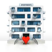 Love sign in front of isolated apartment building illustration Stock Illustration