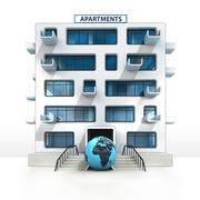 African world globe in front of isolated apartment building illustration Stock Illustration