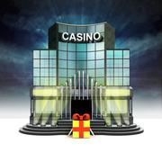 Gift box in front of illuminated casino at night illustration Stock Illustration
