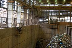 Waste processing plant interior Stock Photos