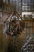 Waste processing plant interior - stock photo
