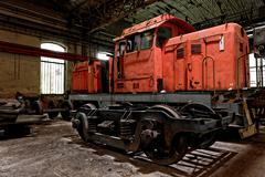 Freight train in garage - stock photo