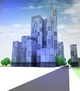 blue glass city with office building in sky illustration - stock illustration