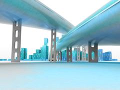 Two highways leading to modern skyscraper city render illustration Stock Illustration