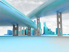 two highways above ground leading to modern skyscraper city with sky - stock illustration