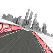 race circuit leading to modern skyscraper city on white render illustration - stock illustration