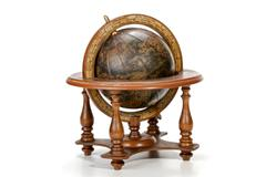 Nautical world globe on table top wooden stand Stock Photos