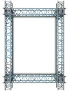 iron blue shiny rectangle construction frame illustration - stock illustration