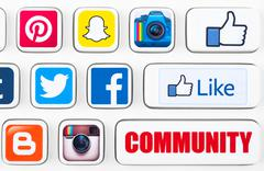 Most popular logotypes of social networking applications - stock illustration