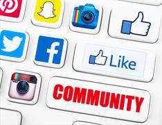 Most popular logotypes of social networking applications Stock Illustration