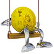 Dollar coin robot swinging on a swing left side view rendering illustration Stock Illustration