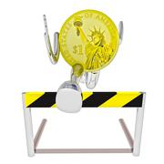 dollar coin robot athlete jumping above hurdle rendering illustration - stock illustration