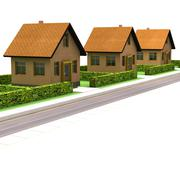 street with new houses isolated on white illustration - stock illustration