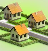 Three houses in neighborhood on white illustration Stock Illustration